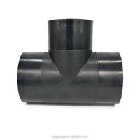 black color butt welded hdpe pipe fitting equal tee for water supply