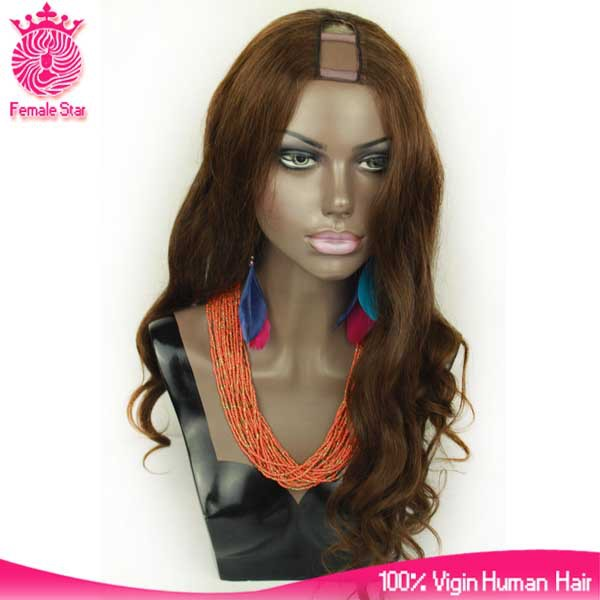 Qingdao factory dark brown #2 machine made brazilian virgin hair u part wigs for black women human hair