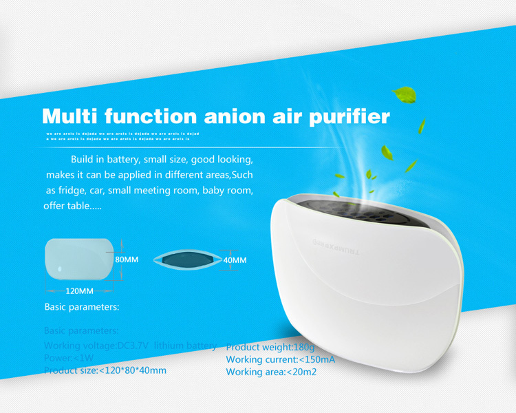 Wholesale mini home car green air purifier ionizer dust collector