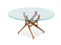 Modern design solid wood base glass dining table (NB2313)