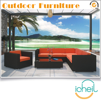 S001 Outdoor Garden Patio Rattan Wicker 7 Pieces Modular Sectional Furniture Corner Sofa Set