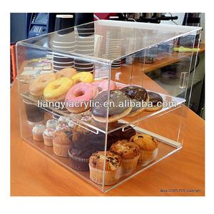 New arrival!donuts pastry acrylic cupcake display case with sliding door