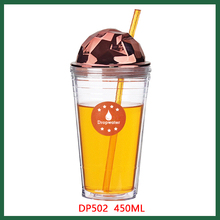 16oz promotional double wall plastic print cup, reusable plastic coffee cups
