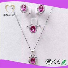 sales 925 silver natural Topaz gold plated fashion jewelry sets