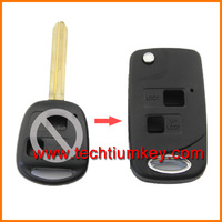 2 buttons flip folding modified key shell case blank for crown vela key for toyota