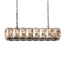 Piorilighting Crystal Chandelier Modern Black Rectangle Crystal Pendant for Dining room