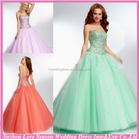 HE2078 2014 Hot sale coral beaded glass diamond patterns top layers tulle ball gown long corset sequin ball gown prom dresses
