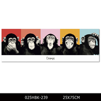 New Arrivals Funny African Animal Chimps Oil Painting for Wall Art Smile Gorilla Pictures for Coffee Shop Wall Art Pictures