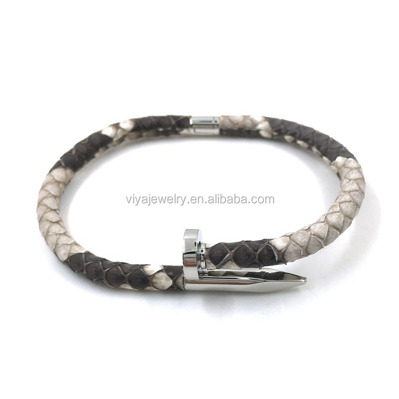 Genuine Custom men skull Python leather bracelet