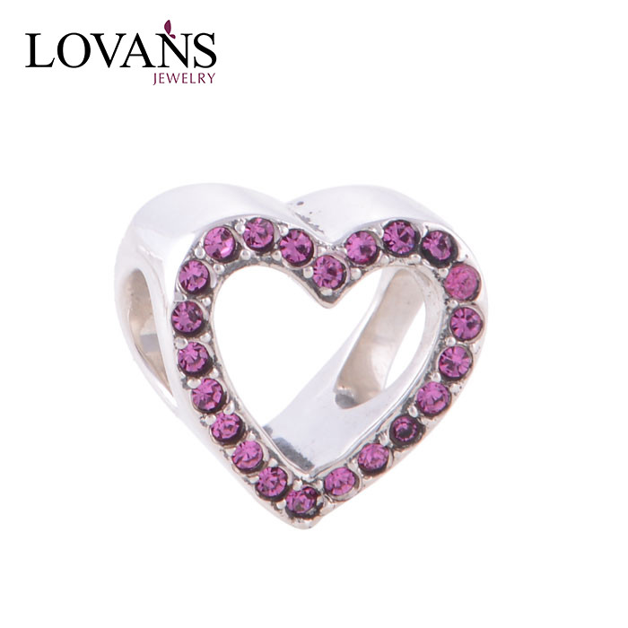 925 Terling Silver Jewelry Love Charm Beads With Rhinestone