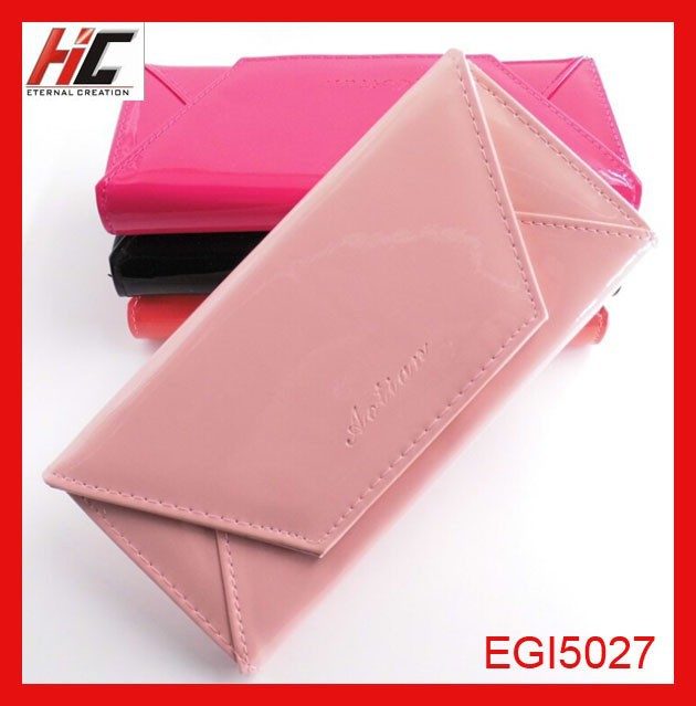 Envelope style long lady leather wallet case with fresh bright candy color bi-fold purse From Guangzhou