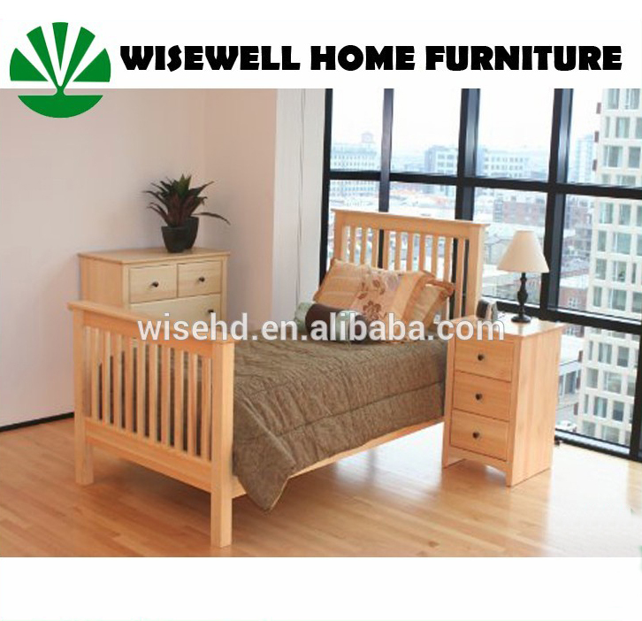 W-B-0063 pine wood modern bedroom furniture sets