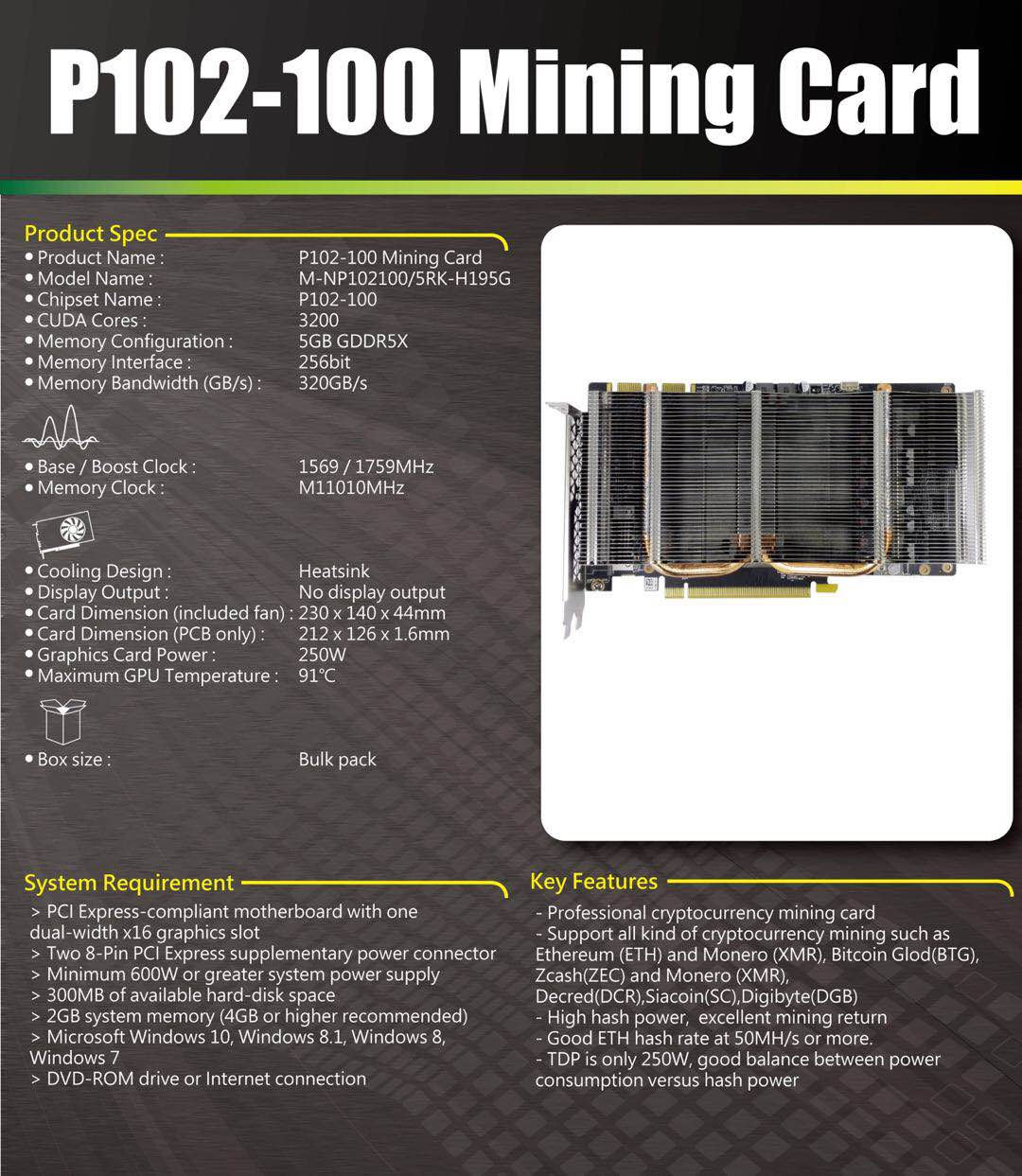 P102-100 Mining Card Hash Rate 47-50mh/s for Ethereum Miner Heatsink & Cooler