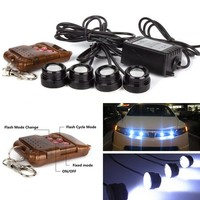 led drl 4*3W strobe flash eagle eye LED car light with Remote control 100% waterproof DRL warning light bulb white brake lamp