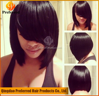 Yaki bob lace front human hair wig with bangs best selling products in asia