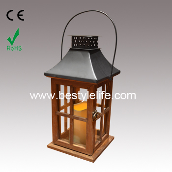 Urban Trends LED Pillar Candle Wooden Lantern