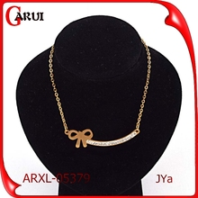 stainless steel gold plated pendants girls bowknot fine jewelry necklaces
