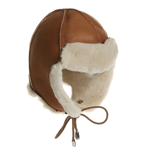 BSCI Audit Unique Winter faux Shearling Sheepskin Hat brown leather hunting cap