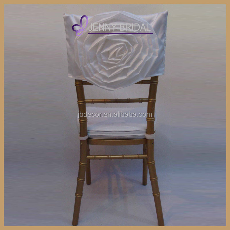 C029A fancy white satin rosette flower chair head covers