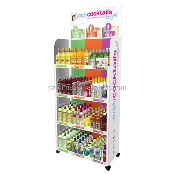 Customized 4-Tier Rotating Wire Floorstanding Bottle Display Case