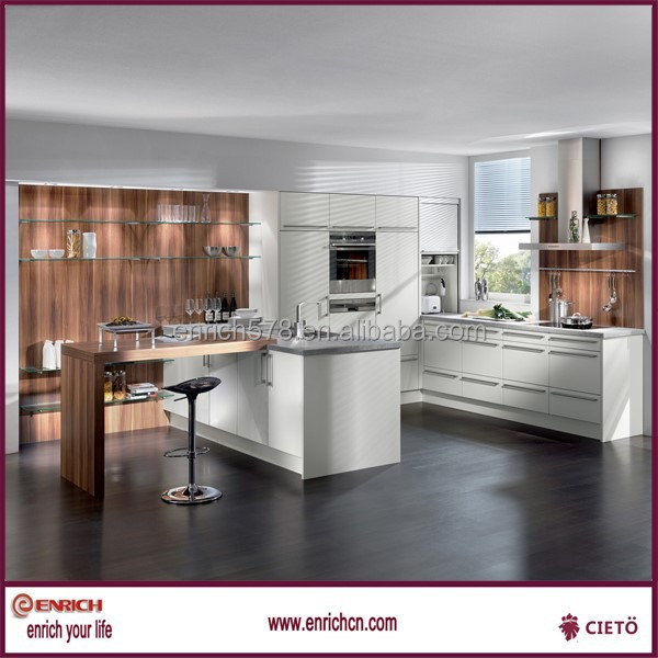 High gloss white lacquer export project kitchen furniture in bangladesh