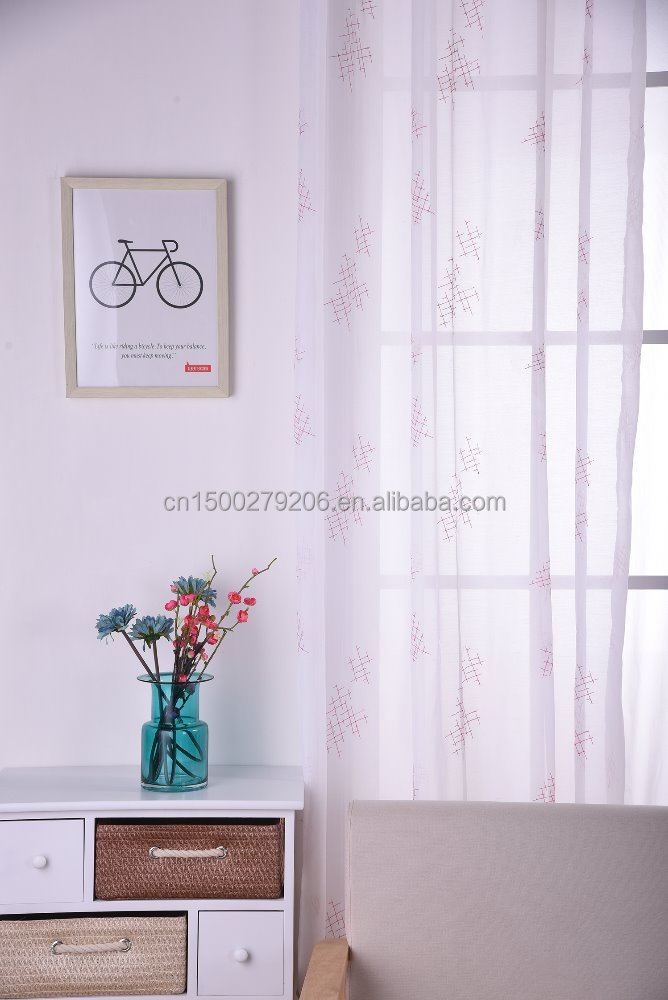 Simple Pattern Polyester Flower Design Printing Window Curtain for living room