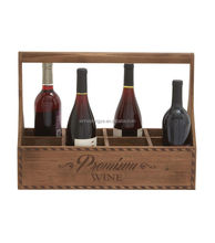 Factory 4 Bottle Wooden Wine Beer Holder Carrier Box