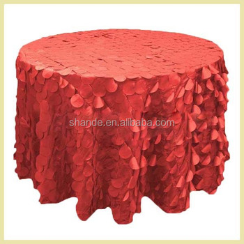 wholesale polyester taffeta round table cloth with petal