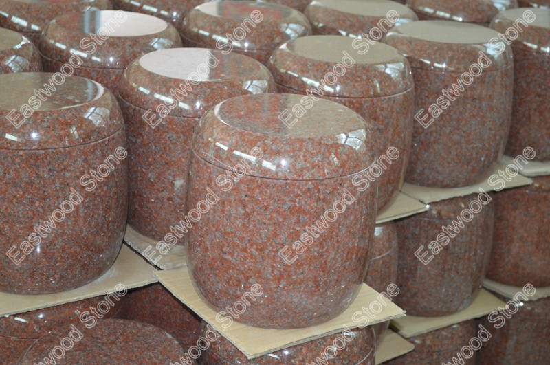 Red granite cremation urn