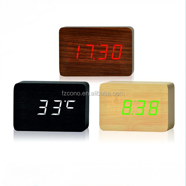 Snooze Light Laser Projection Table Digital Wooden Alarm Clock With Weather Station