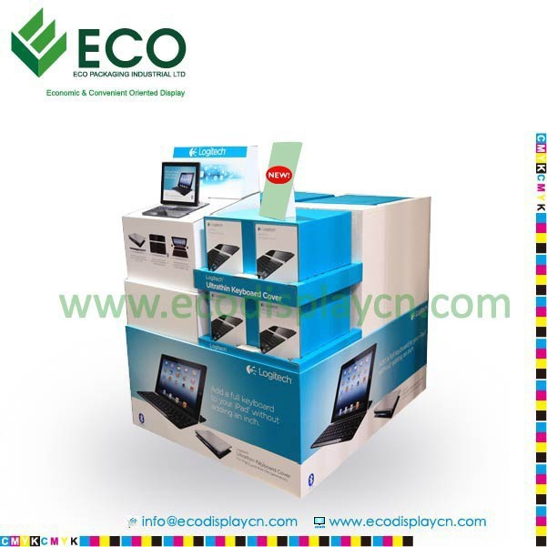 POS Corrugated Cardboard Advertising Pallet Display For Retail, Computer Display