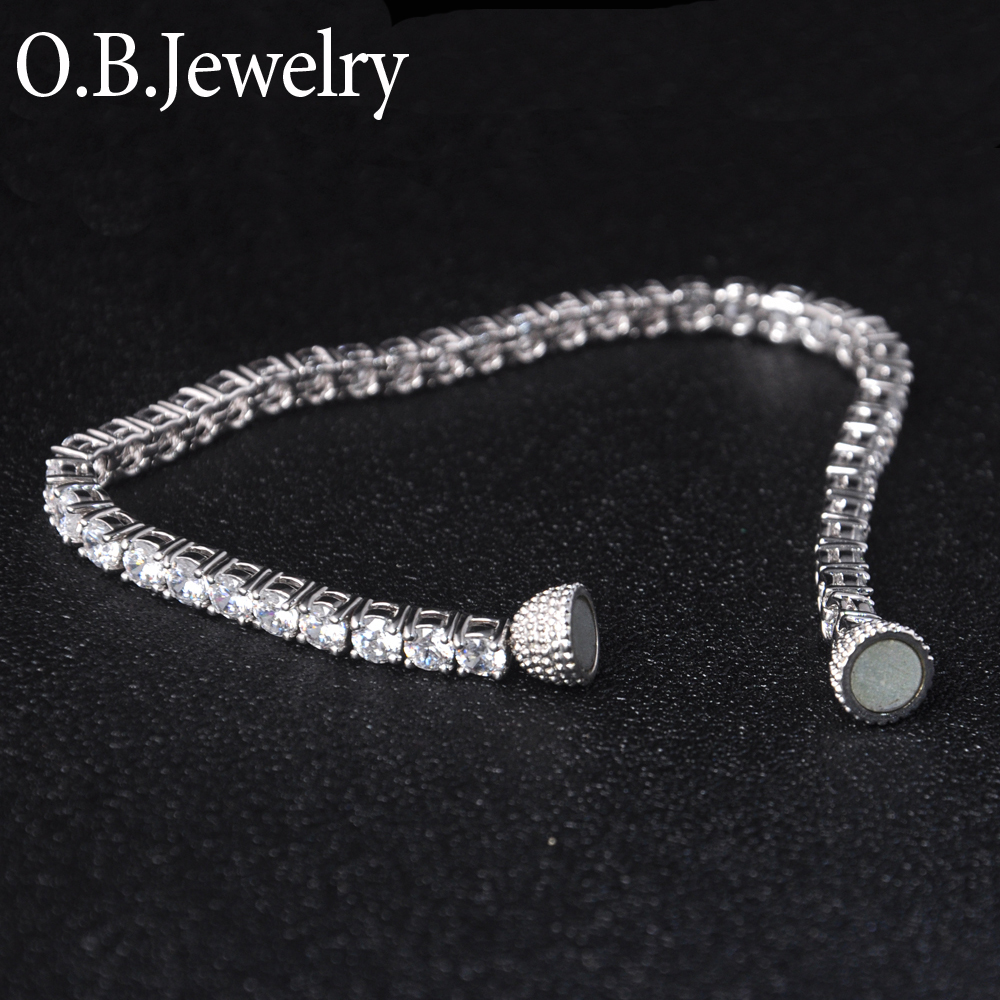 New Arrival Hot Selling Clear Stone Tennis Bracelet Magnet Close Bracelet