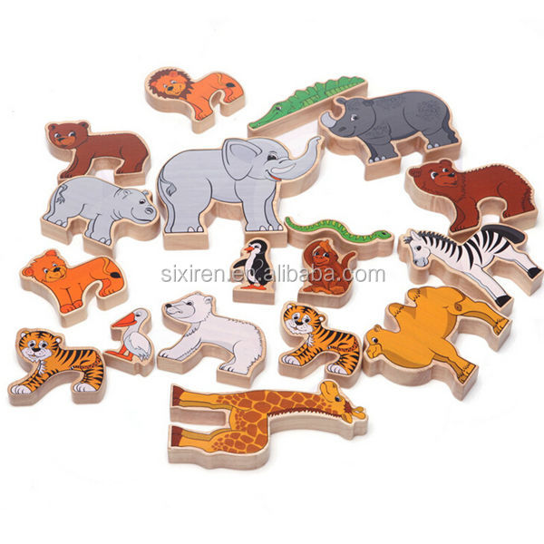 Cute Animal Shape Wooden 3d animation Puzzles