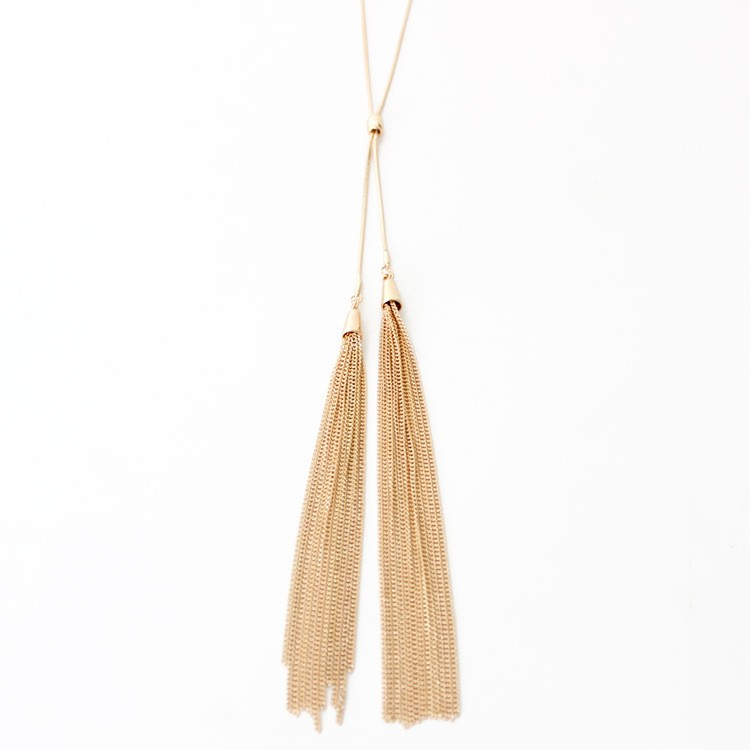 New Tending Long Gold Plating Chain Tassel Necklace