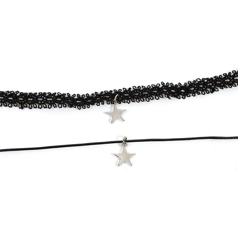 Polyester Hollow Choker Necklace Silver Tone Black Pentagram Star Lace Fashion Choker