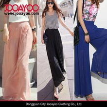 Women Casual Wide Leg High Waist Pants Dress Long Loose Chiffon Trousers