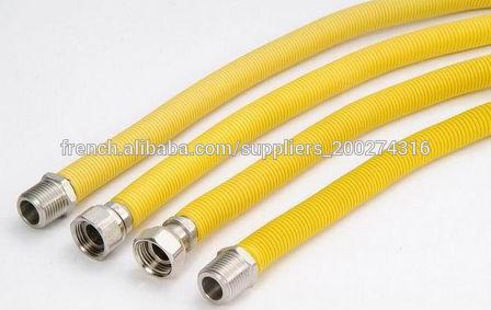 flexible tuyau de raccordement de l 39 eau en pvc acier du tuyau de gaz en acier avec pvc jaune. Black Bedroom Furniture Sets. Home Design Ideas