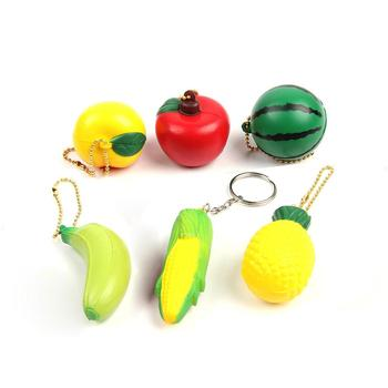 Hot selling Fruit Squishy slow rising toys  decompression toy for kids and adult with keychain