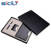 Black Luxury PU Leather Notebobok business gift set for men,Christmas Promotion gift set with Notebook/Name Card Holder/Pen