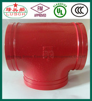 ASTM A536 FM UL ULC ductile iron pipe fitting din standard galvanized cast iron tees