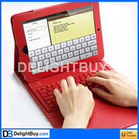 for IPad cover with Bluetooth Wireless keyboard (RED) leather case with keyboard