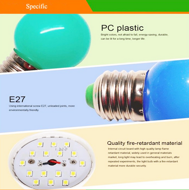 Colorful E27 G45 LED Ceramic Repalcement Bulbs