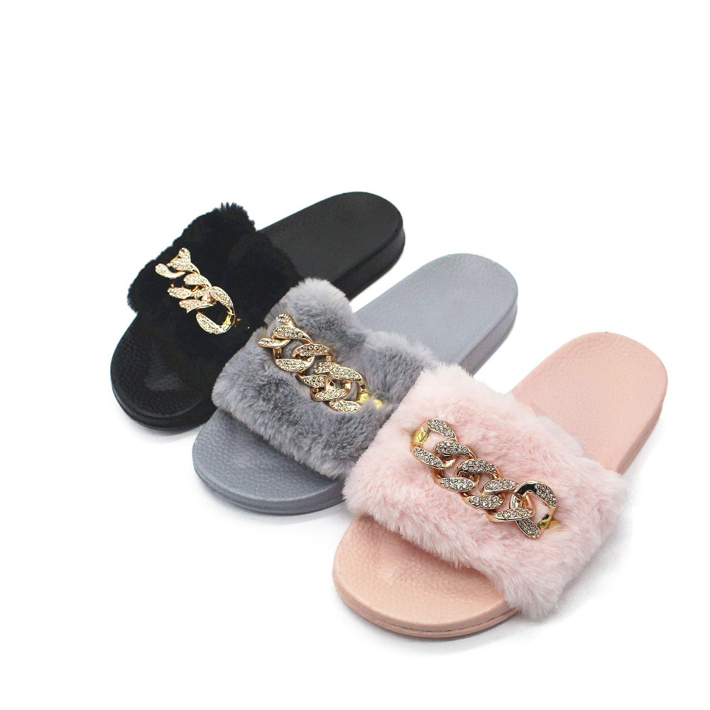 2017 New Arrival Fur <strong>Slipper</strong> Women Rhinestone Chain Meta Decoration Fur Slides Women Anti-slip Leisure <strong>Slipper</strong> Woman