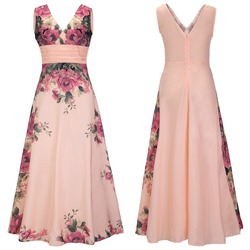 New Model Sexy Girls Party Dresses Prom Night V-Neck Floral Wholesale Ali express Light Pink Elegant Maxi Dress