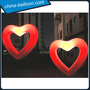 PVC air tight inflatable hollow heart replica with color changing led light for wedding decoration