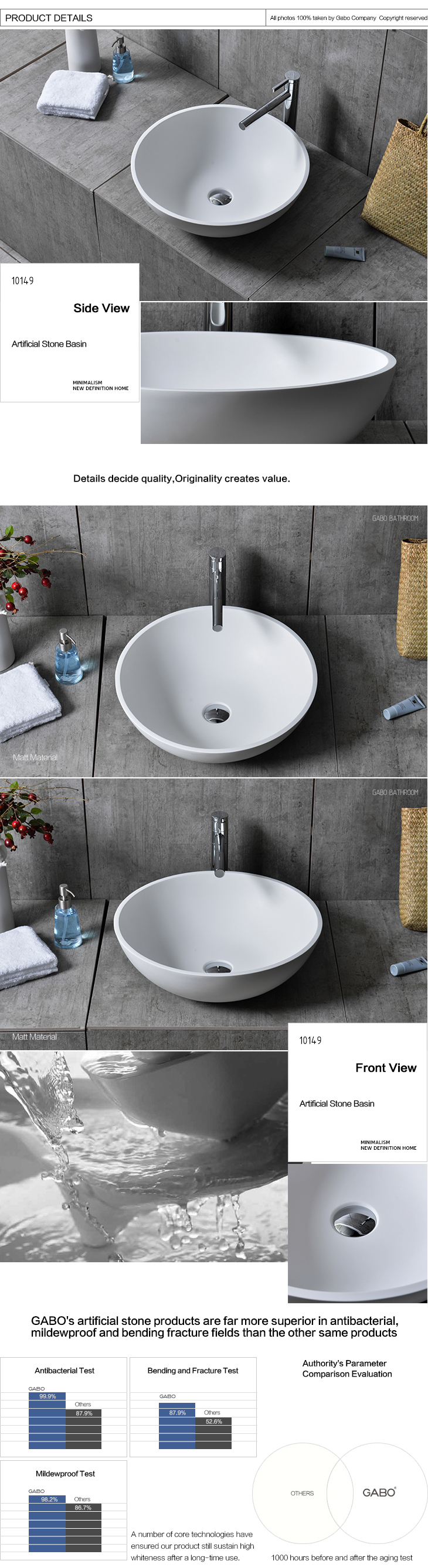 Modern bath room round sink for sale man-made stone