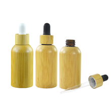 Luxury cosmetic packaging 30ml essential oil bamboo dropper bottle with bamboo lids
