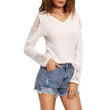 ladies long sleeve blouses cotton blouse designs lace sleeves t shirt