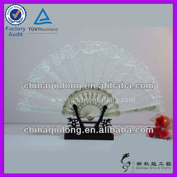 White Lace Spanish Plastic Hand Fans With Logo