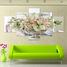 Big modern home decor living room Wall Art Picture printed stone Bamboo peony flower oil Painting on Canvas art prints